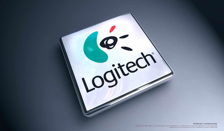 logitech, лого, 3Д, прямоугольный