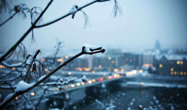 elementary, theme, ubuntu, город, ветка, мост, snow, with, www, kamyab, ir, evening, зима, full, similar,