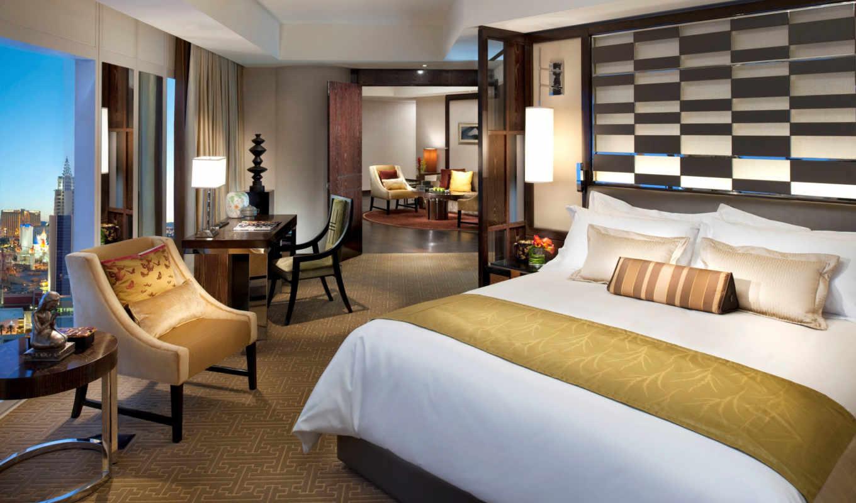 спальня, интерьер, комнаты, дизайн, кровать, стиль, mandarin, oriental, vegas, las, номером, экрана,
