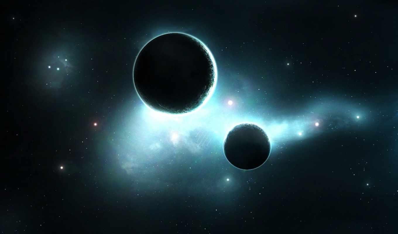 планеты, туманность, звезды, satellite, свечение, картинка,