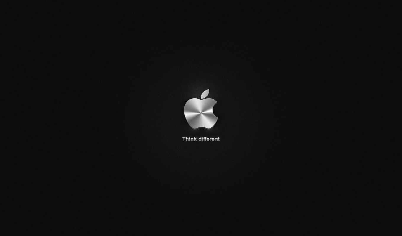 apple, logo, metallic, black