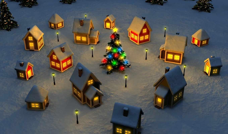 новый, год, игрушки, праздник, домики, елки, праздники, рождество,