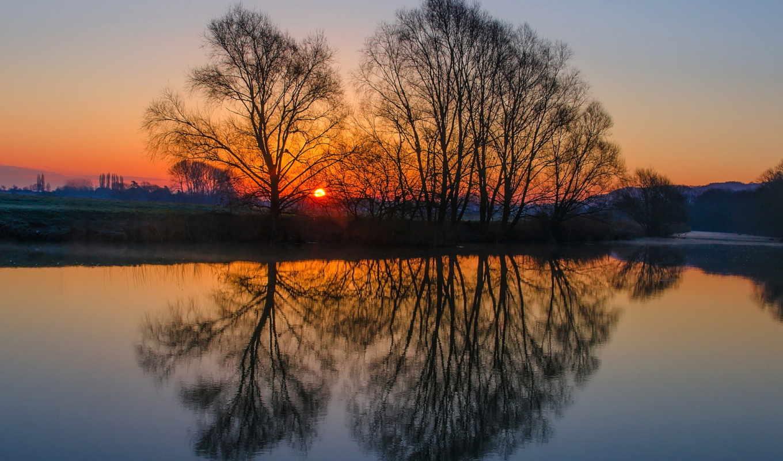 деревья, природа, landscape, закат, отражение, water, небо,