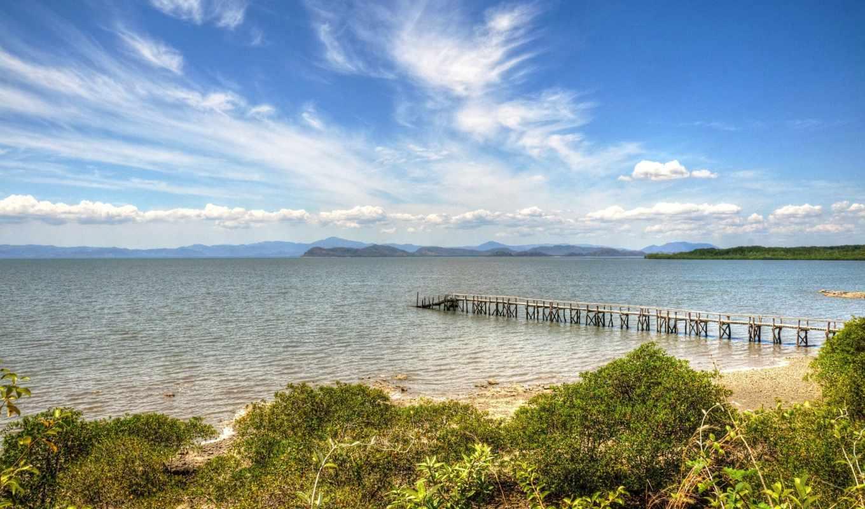 мост, пляж, берег, море, der, нив, растения, beaches, riviera,