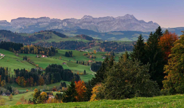 горы, долина, лес, небо, трава, осень,
