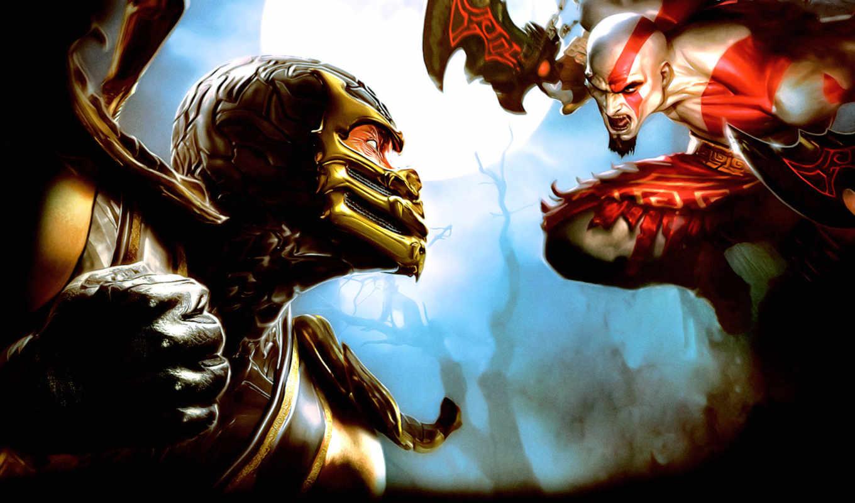 mortal, kombat, fighting, scorpion, kratos,