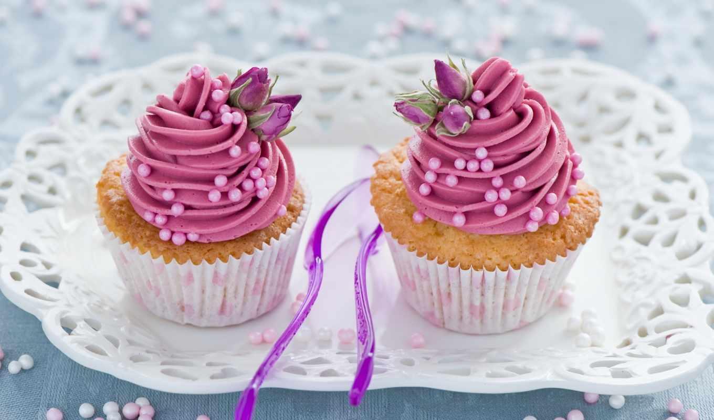 , кексы, ложки, розовый