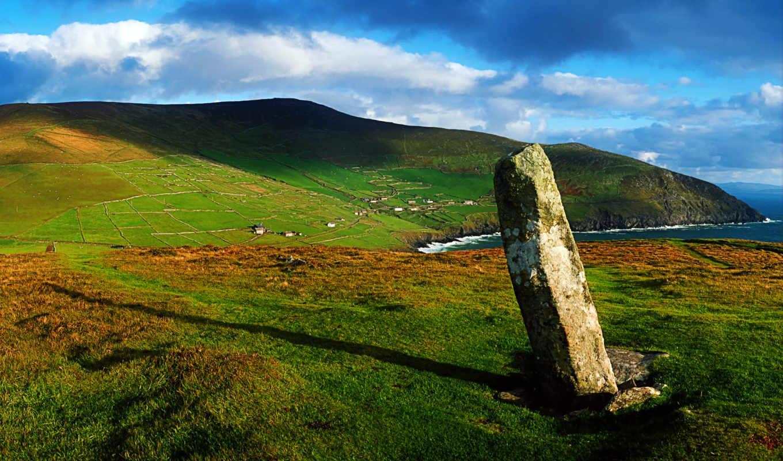 ireland, ирландский, берег, горы, камень,