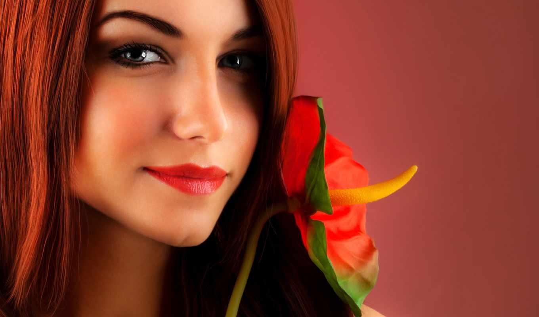 devushka, цветок, рыжая, портрет, sexy, рыжих,