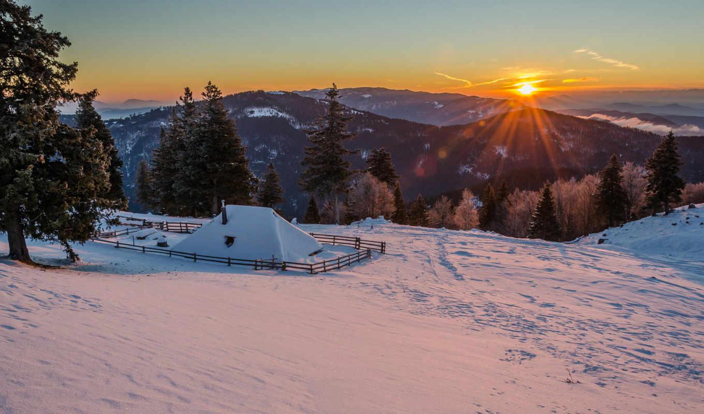 горы, winter, снег, sun,