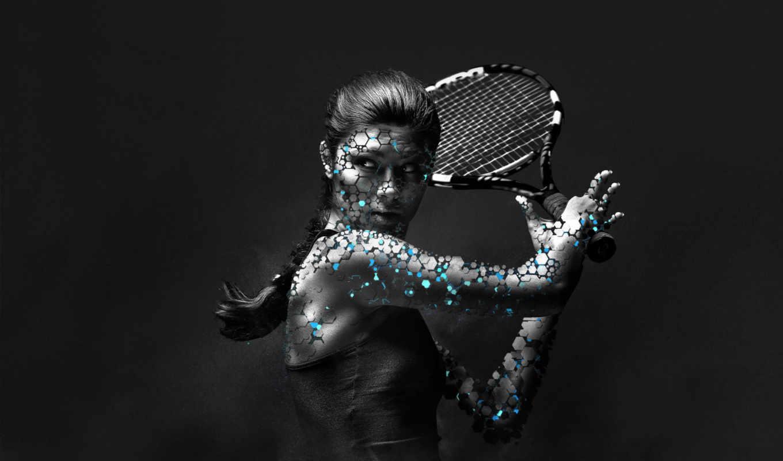 тенис, спорт, девушка, большой, женщина,