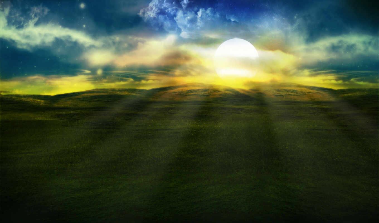 небо, нега, blue, природа, поле, луна, зелёный,