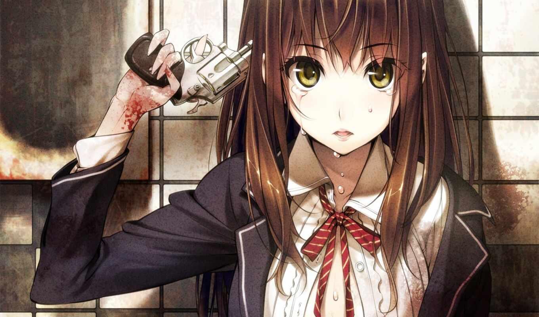 кровь, девушка, anime, tie, вконтакте, аватары, devushki, оружие, revolver, крови, she,