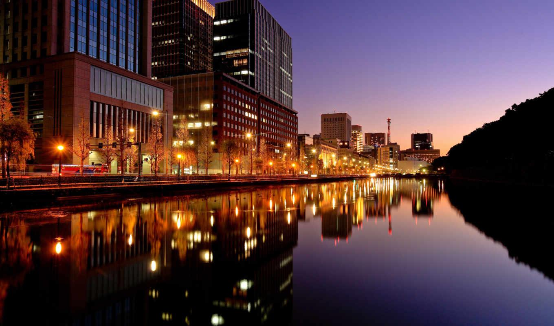 город, вечер, огни, япония, tokyo, города, ночь,