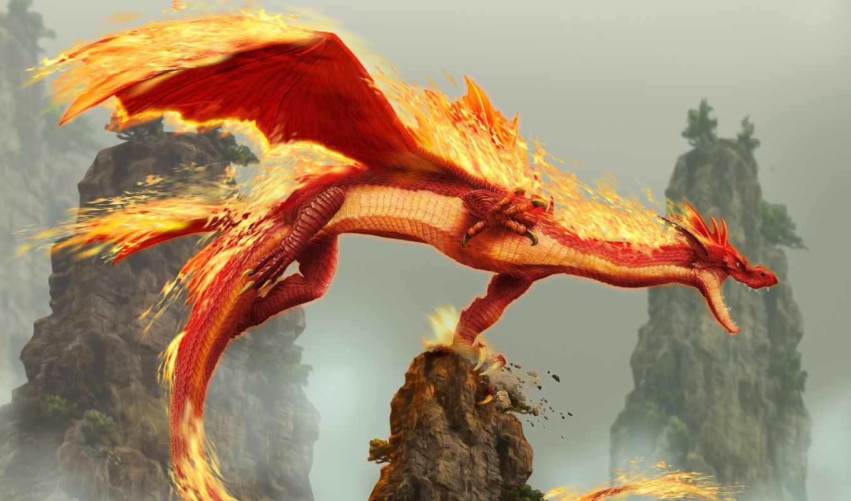 дракон, fantasy, игры, огонь,
