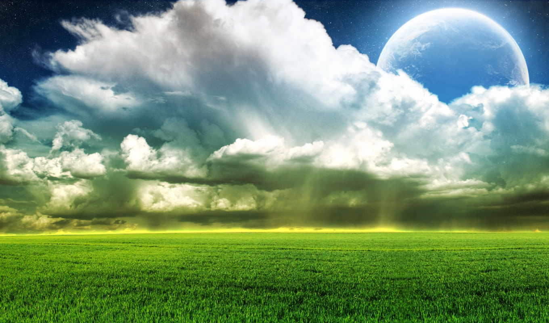 природа, небо, пейзажи -, трава, oblaka, поле, луна,