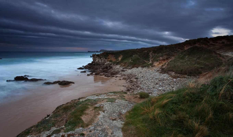 море, широкоформатные, вечер, берег, природа, тучи, скалы, мост, пейзажи -,