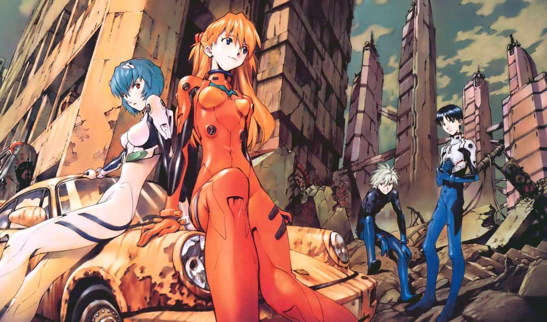 anime, evangelion, нарисованные, машина,