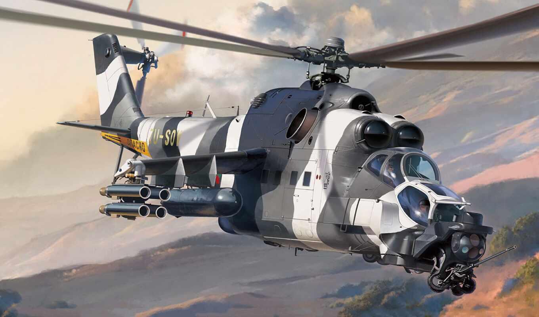 ми, hind, супер, mil, вертолет, shock