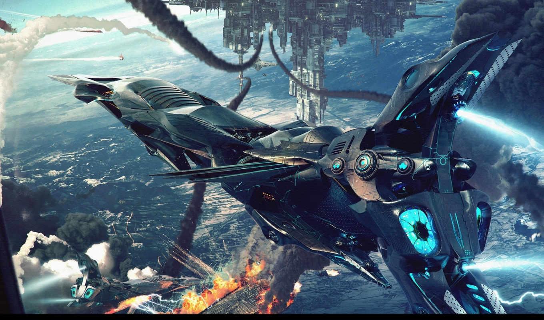 jieanu, dragos, летательный, аппарат, космос, картинка, battlefield, картинку, fonds, flying, мыши, ecran, кнопкой, futuristic,