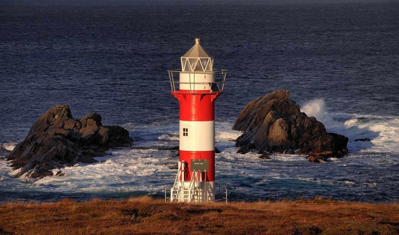 маяк, камни, океан, природа,