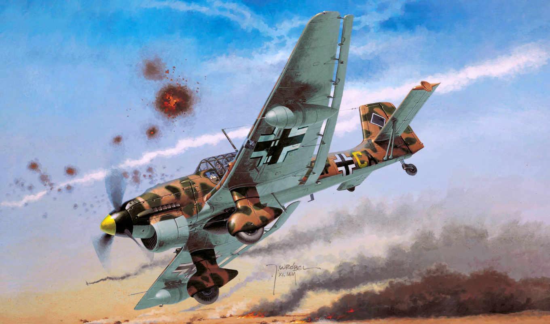 stuka, самолеты, авиация, luftwaffe, junkers, рисованные,