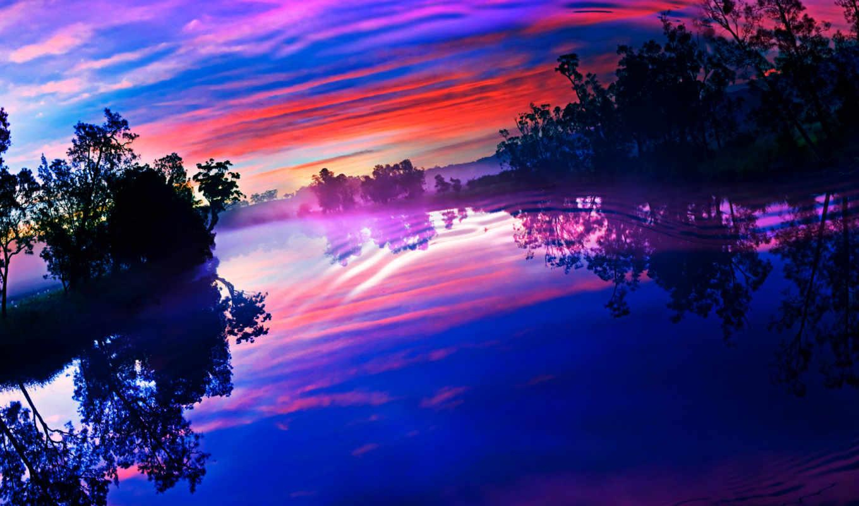 облака, закат, небо, сумерки, отражение,