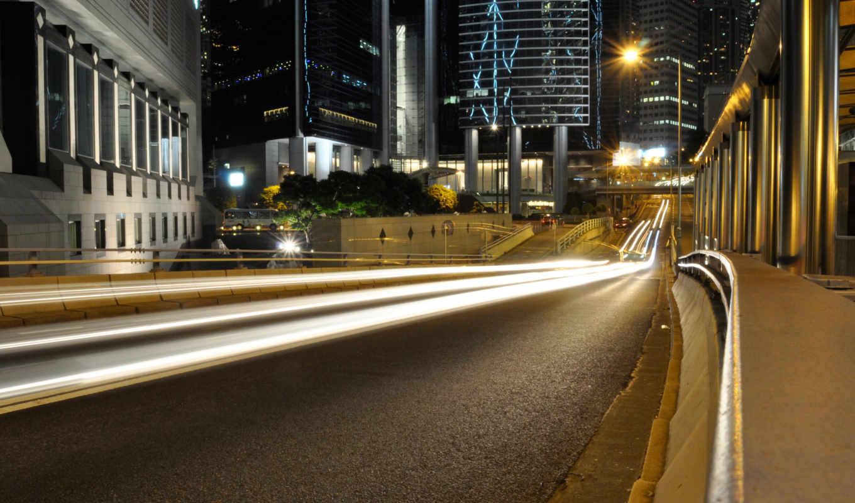 ночь, улица, город, огни, action,