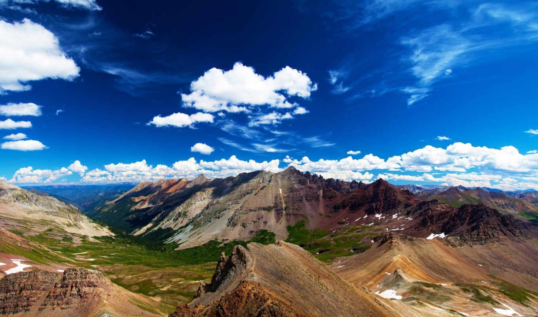 небо, горы, природа, возвышенности,