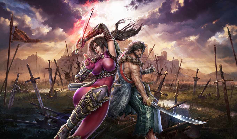 lost, swords, soulcalibur, девушка, calibur, soul, ninja, воин, грудь, taki,