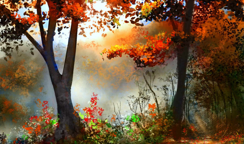 drawn, landscape, лес, art, осень, maps, trees, река, рисунки, холмы,