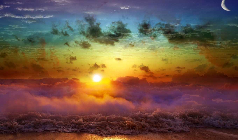 art, beach, , rainbow, download, desktop,