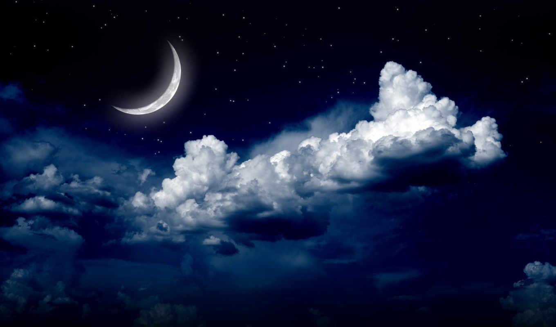 звезды, облака, луна, ночь,