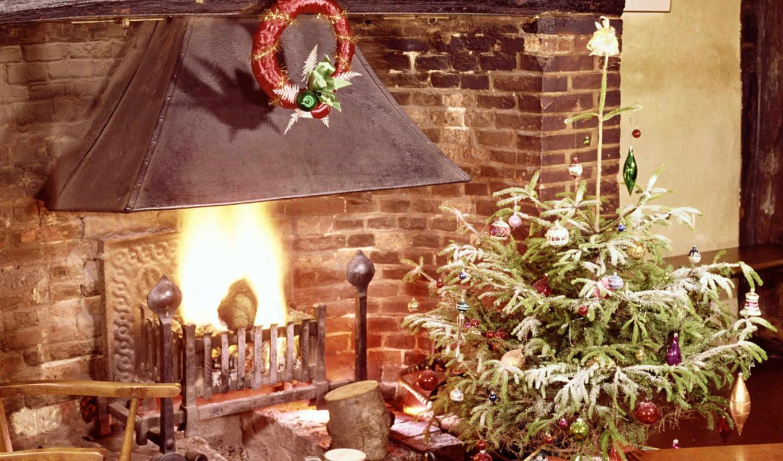 год, new, камин, christmas, дерево, кб,