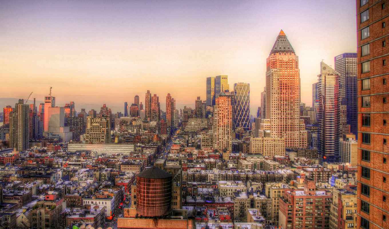 города, дома, hdr, сша, нью, york, реки,