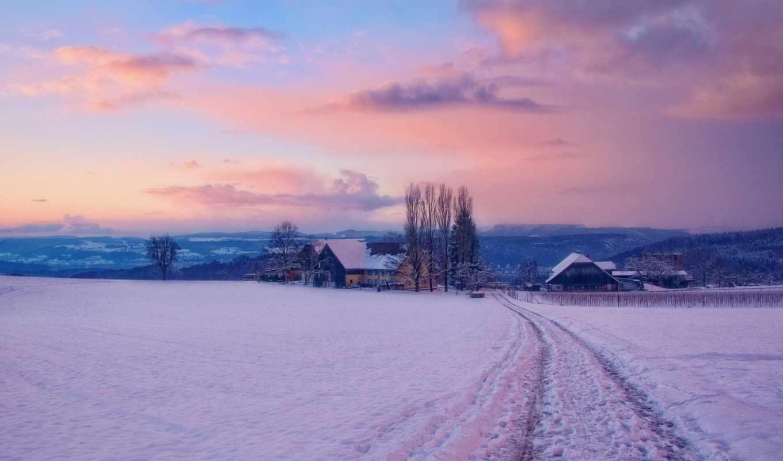iphone, winter, снег, деревня, ну, landscape, neither, ipad, дек,