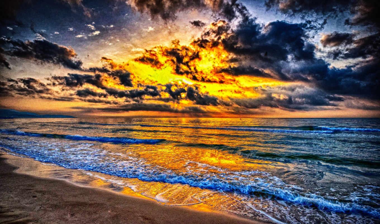 пейзажи -, закат, cvety, море, широкоформатные, небо, пляж, jones,