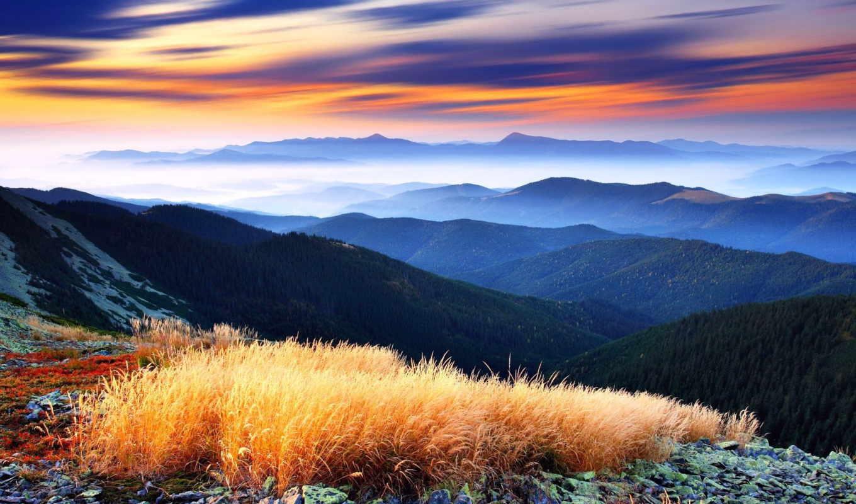 взгляд, горы, красивый, trees, красивые, панорама, туман,  небо, облака