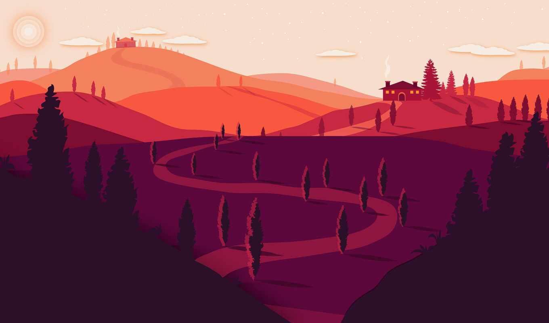 вектор, минимализм, гора, тропинка, hill, закат, арта, red, summer, супер, landscape
