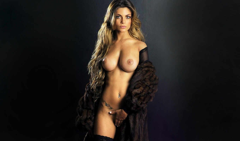 грудь, сиськи, голая, блондинка, чулки, секси,