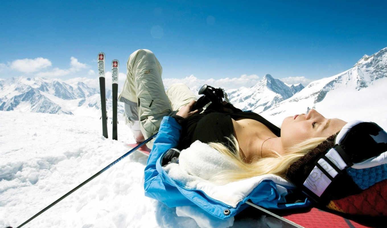 лыжи, горы, горные, снег, девушка, лыжник, картинка, отдыхает, горах,