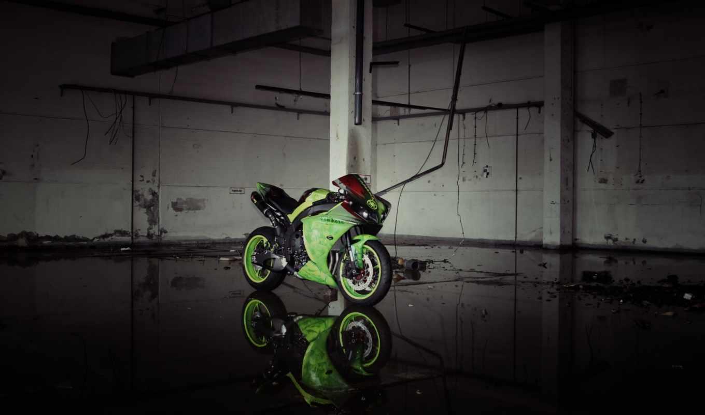yamaha, yzf, зелёный, bike, мотоцикл,