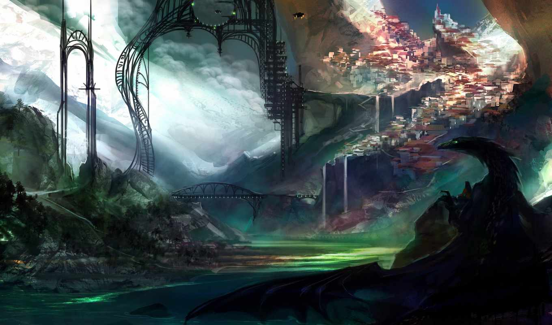 драконы, рисунки, лучшая, коллекция, загружено, уже, горы, город, мосты, фотографий,