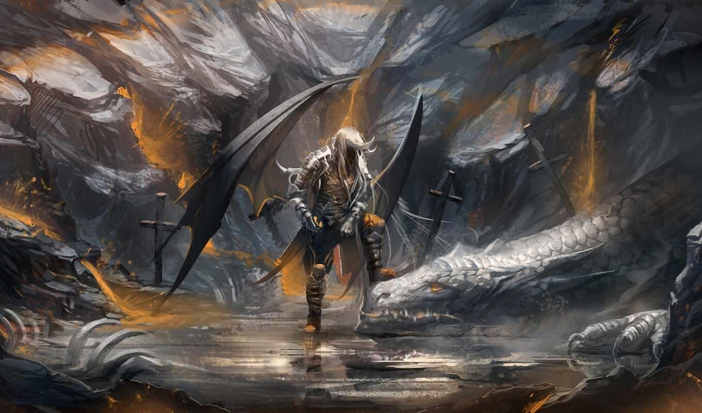 обои, арт, кресты, воин, дракон, sakimichan, кости