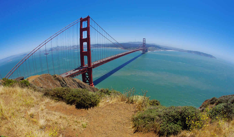 мост, сан, франциско, ворота, золотые, трава, francisco, залив,