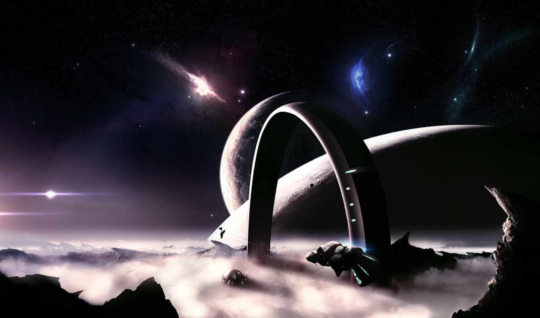space, планета, звезды, кольцо, облака, корабли, desktop, stars,