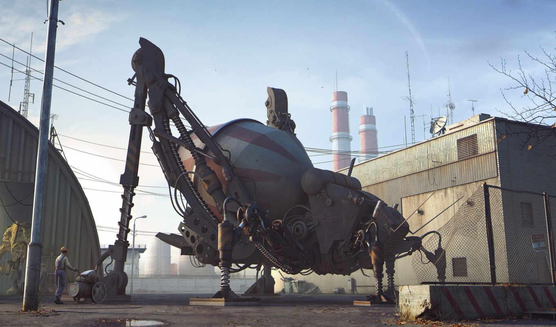робот, бетономешалка, жук, красивые, решил,
