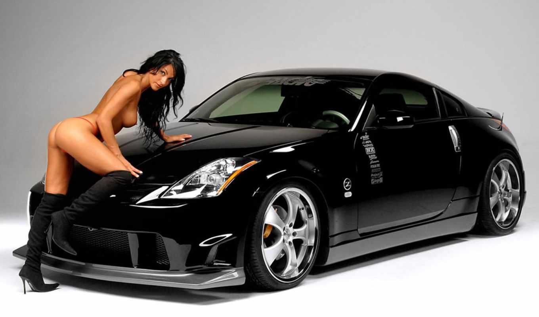 nissan, девушками, авто, car, черная,