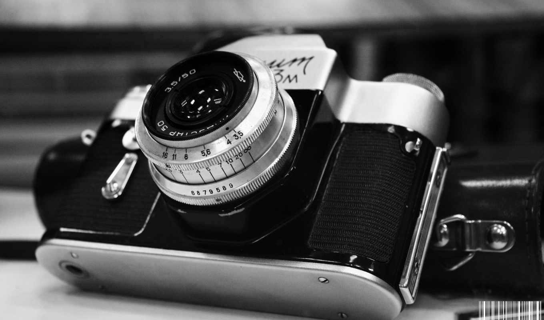 ретро, чёрно, фотоапарат, бесплатные, сниматься, объектив, белое, фотоаппарат,