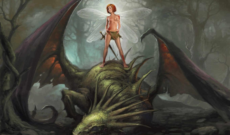 дракон, фея, лес, меч, кровь, darkness, повержен, крылья,